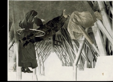 collage cloaked figures in pipe-roofed int SM